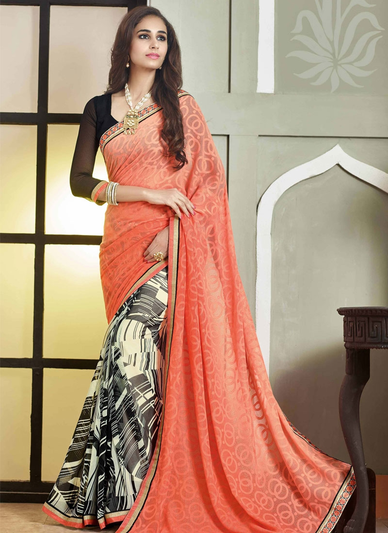 Blooming Faux Georgette Half N Half Party Wear Saree