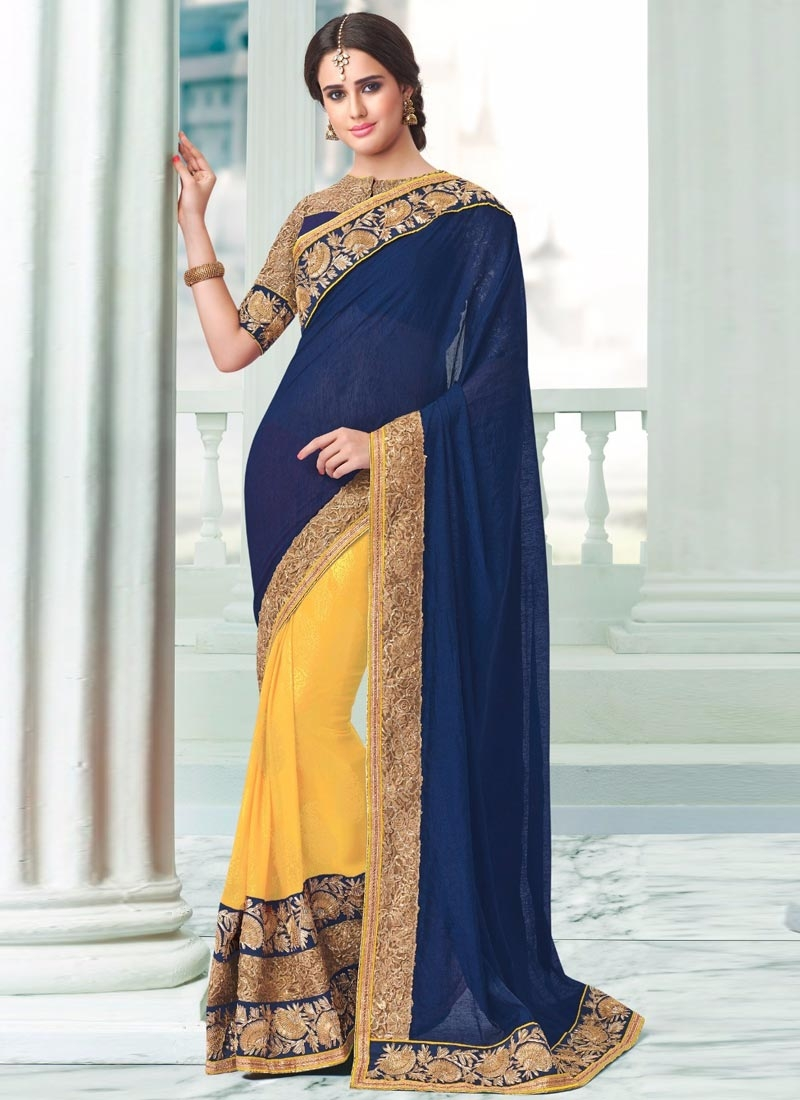 Blooming Gold Color Resham Work Half N Half Party Wear Saree