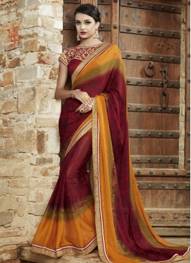 Blooming Lace Work Trendy Saree