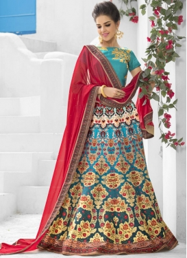 Blooming  Light Blue and Red Digital Print Work Trendy Lehenga Choli