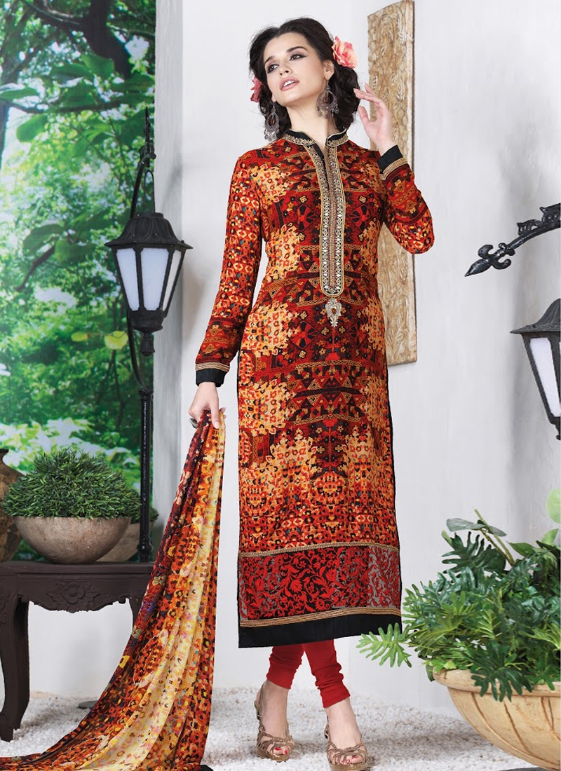 Blooming Multi Color Crepe Silk Party Wear Suit