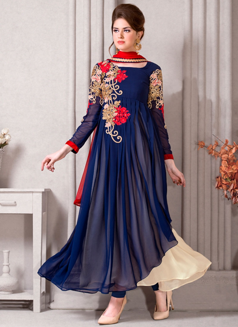 Blooming Navy Blue Color Long Length Designer Salwar Kameez