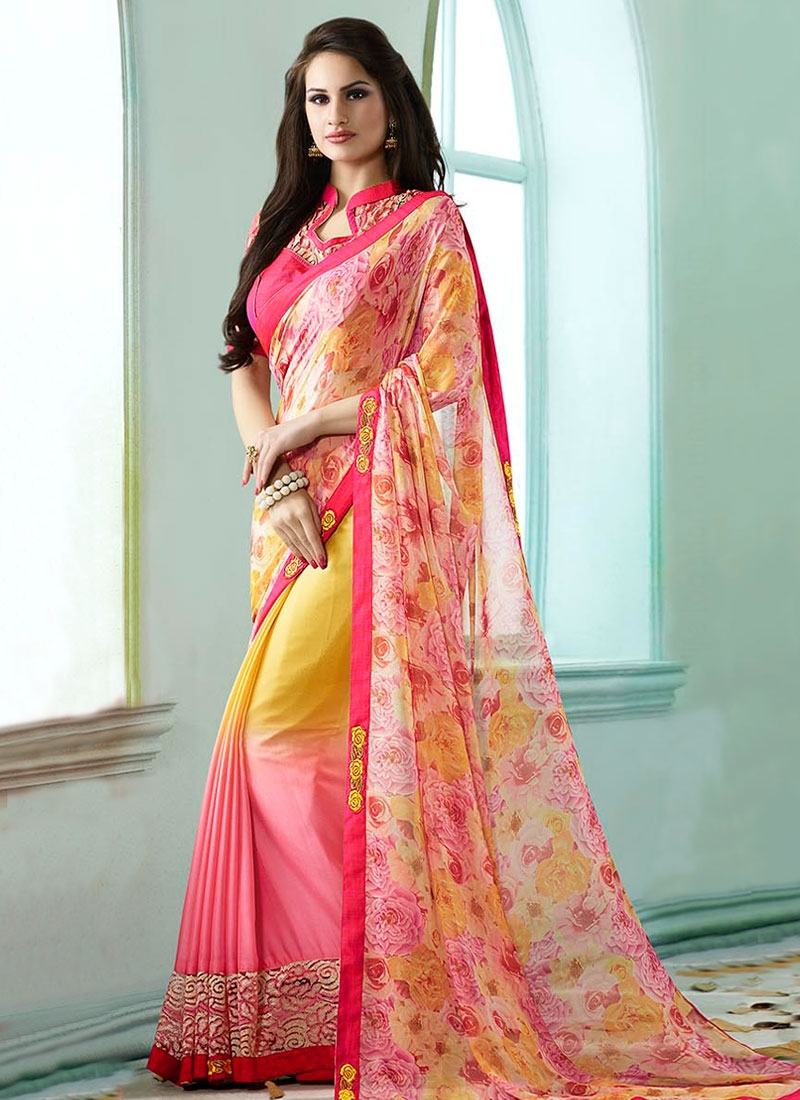 Blooming Patch Border Work Half N Half Party Wear Saree