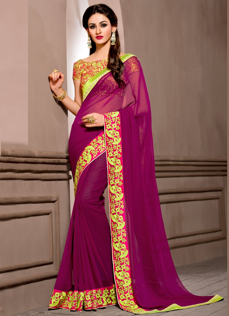 Blooming Purple Color Viscose Party Wear Saree