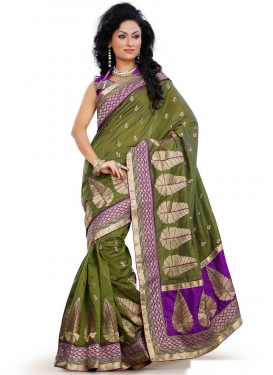 Blooming Stone Work Olive Color Designer Saree