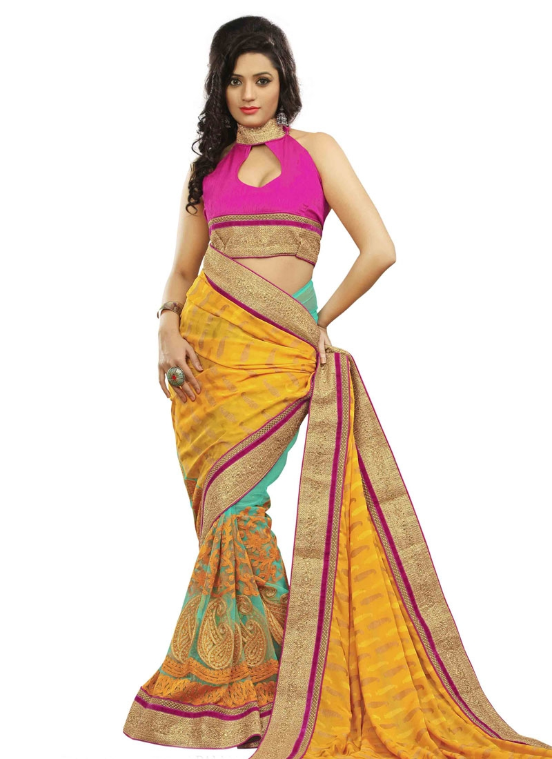 Blooming Viscose And Net Half N Half Wedding Saree