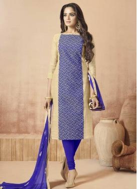 Blue and Cream Banarasi Silk Churidar Salwar Suit