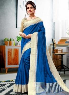 Blue and Cream Contemporary Style Saree For Ceremonial
