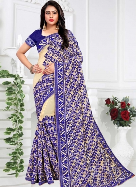 Blue and Cream Faux Georgette Trendy Saree