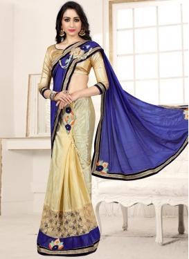 Blue and Cream Half N Half Designer Saree