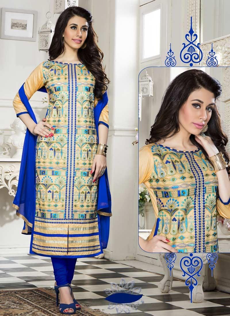 Blue and Cream Trendy Churidar Suit For Ceremonial