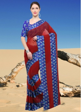 Blue and Crimson Print Work Trendy Classic Saree