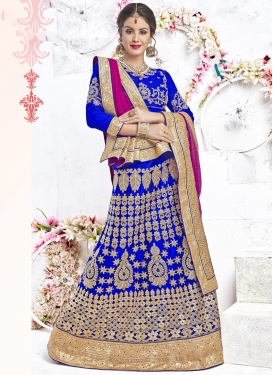 Blue and Fuchsia A - Line Lehenga