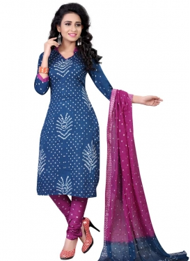 Blue and Fuchsia Bandhej Print Work Churidar Punjabi Salwar Kameez