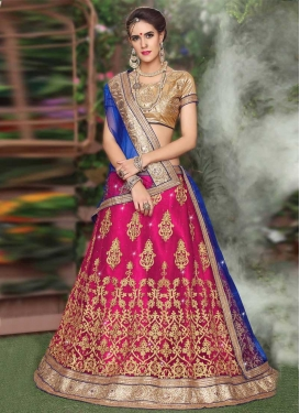 Blue and Fuchsia Booti Work Trendy Lehenga Choli