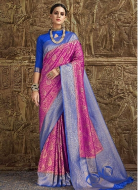 Blue and Fuchsia Jacquard Silk Contemporary Style Saree