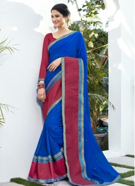 Blue and Fuchsia Jacquard Trendy Classic Saree