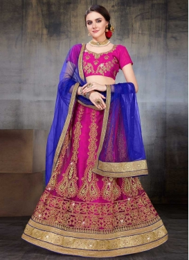 Blue and Fuchsia Net Trendy A Line Lehenga Choli