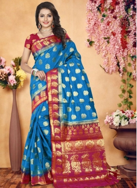Blue and Fuchsia Thread Work Banarasi Silk Trendy Saree