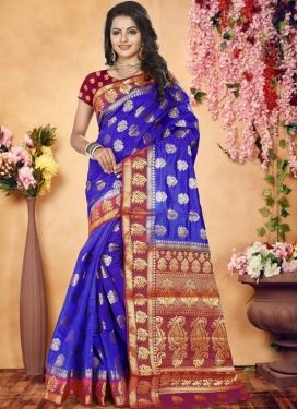 Blue and Fuchsia Thread Work Classic Saree