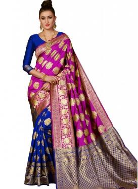 Blue and Fuchsia Thread Work Designer Half N Half Saree