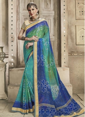 Blue and Green Bandhej Print Work Contemporary Style Saree