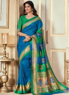 Blue and Green Contemporary Style Saree