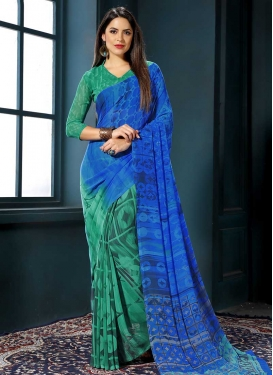 Blue and Green Faux Georgette Contemporary Saree For Casual