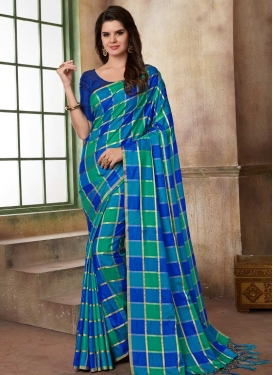 Blue and Green Print Work Classic Saree