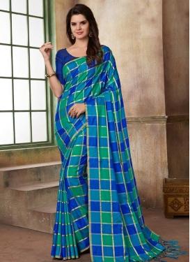 Blue and Green Print Work Classic Saree