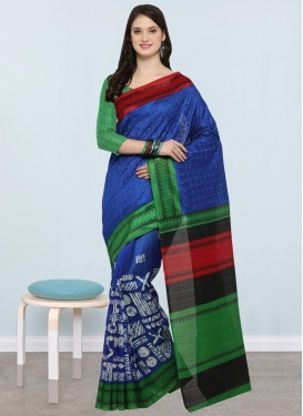 Blue and Green Trendy Classic Saree For Casual