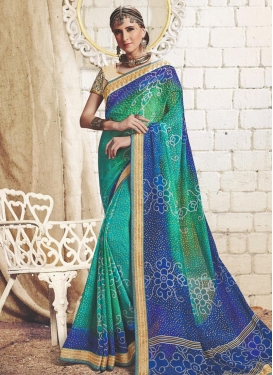 Blue and Green Trendy Saree