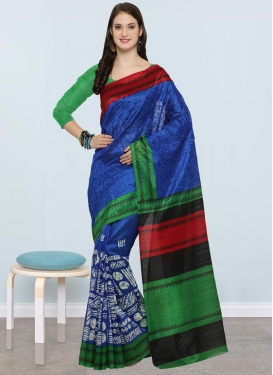 Blue and Green Trendy Saree For Casual