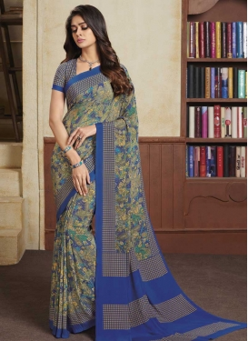 Blue and Grey Crepe Silk Designer Traditional Saree