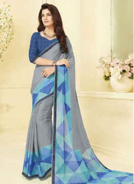 Blue and Grey Designer Contemporary Saree For Casual