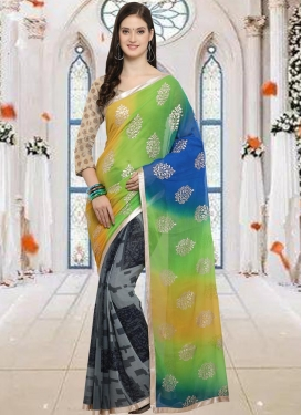 Blue and Grey Faux Chiffon Half N Half Trendy Saree