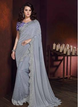 Blue and Grey Lycra Contemporary Saree For Festival