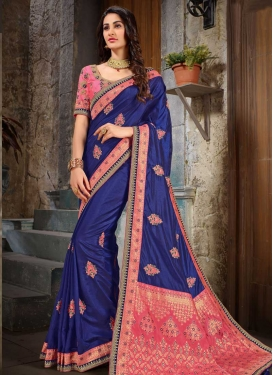 Blue and Hot Pink Booti Work Classic Saree