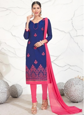 Blue and Hot Pink Salwar Suit For Ceremonial