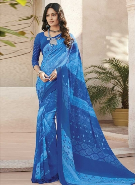 Blue and Light Blue Designer Contemporary Style Saree For Casual