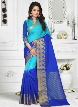 Blue and Light Blue Resham Work Trendy Saree