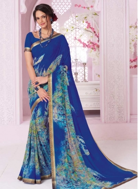 Blue and Light Blue Trendy Classic Saree For Ceremonial