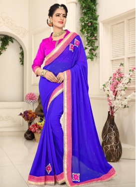 Blue and Magenta Classic Saree For Casual
