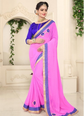 Blue and Magenta  Contemporary Style Saree