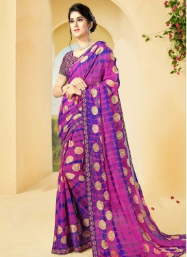Blue and Magenta Designer Contemporary Style Saree