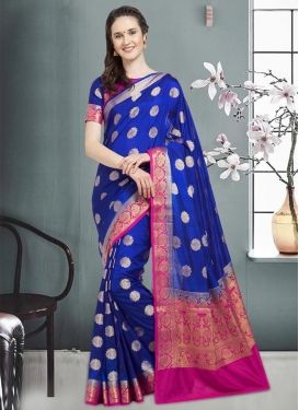 Blue and Magenta Thread Work Trendy Saree