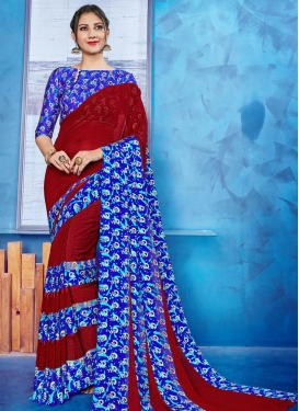 Blue and Maroon Classic Saree