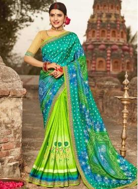 Blue and Mint Green Bandhej Print Work Half N Half Trendy Saree