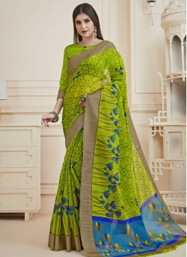 Blue and Mint Green Classic Saree For Casual