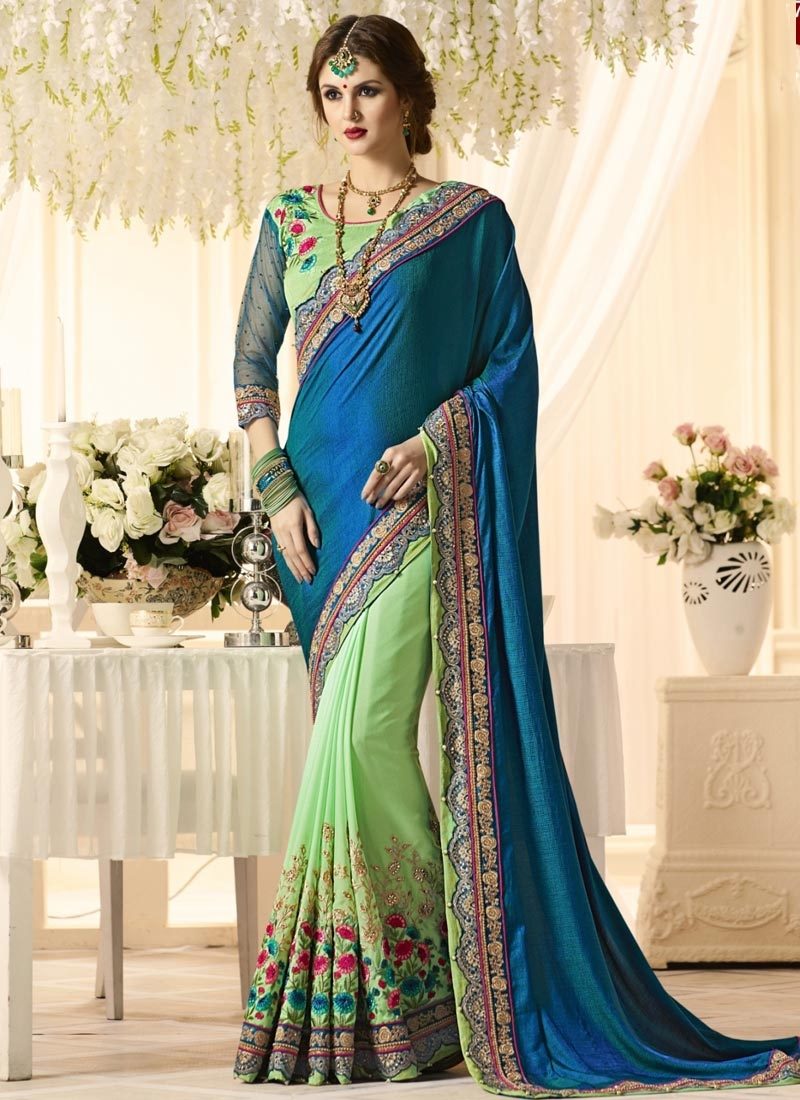 Blue and Mint Green Embroidered Work Half N Half Saree